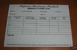 BIRD BREEDING RECORD CARD x 10 DOUBLE SIDED CARDS - LOG